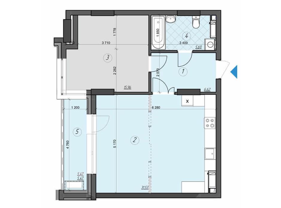 Планировка 1-комнатной квартиры в ЖК Crystal Residence 65.27 м², фото 230418