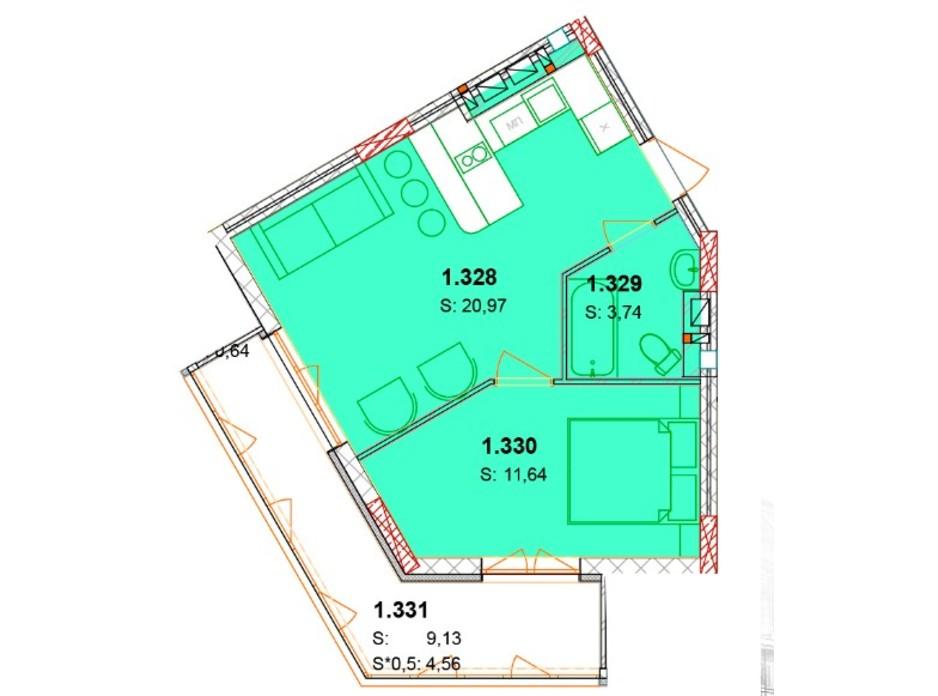 Планування 1-кімнатної квартири в ЖК Сонячний квартал 45.48 м², фото 230626