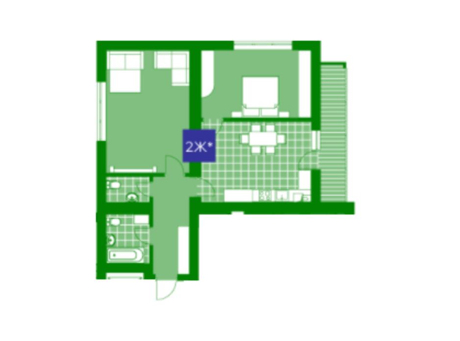 Планировка 2-комнатной квартиры в ЖК Квартал Парковый 71.8 м², фото 230636