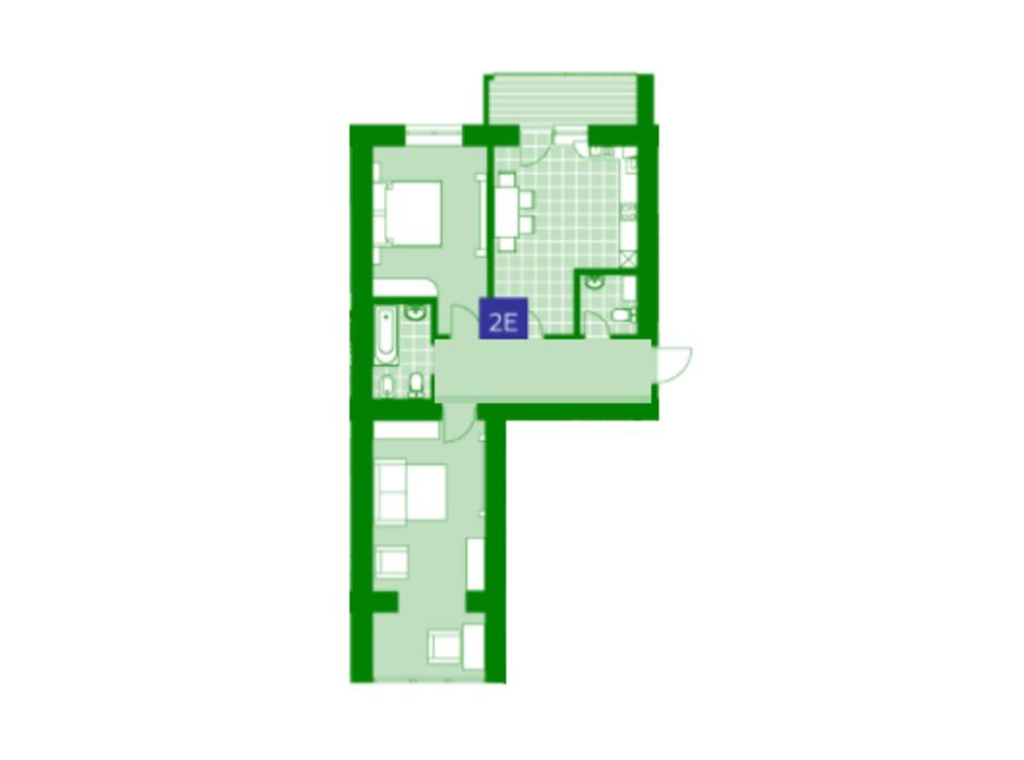 Планировка 2-комнатной квартиры в ЖК Квартал Парковый 62.6 м², фото 230639