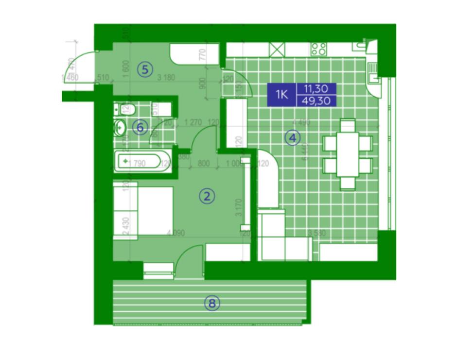 Планировка 1-комнатной квартиры в ЖК Квартал Парковый 49.3 м², фото 230642