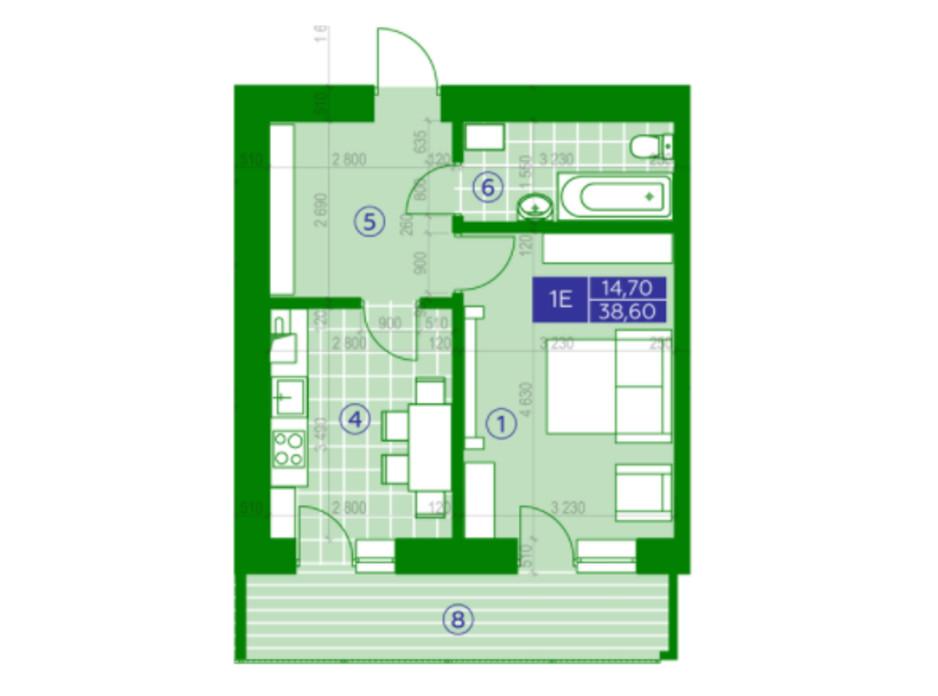 Планировка 1-комнатной квартиры в ЖК Квартал Парковый 38.6 м², фото 230645