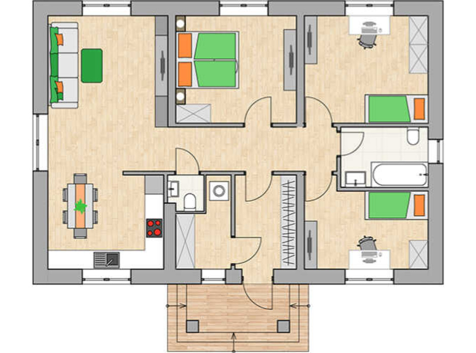 Планировка коттеджа в КГ Green city 90.42 м², фото 230763