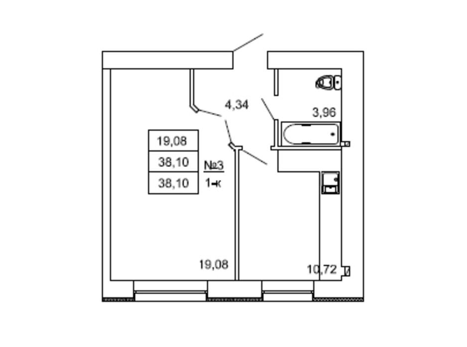 Планировка 1-комнатной квартиры в ЖК на Сенной 38.1 м², фото 230976