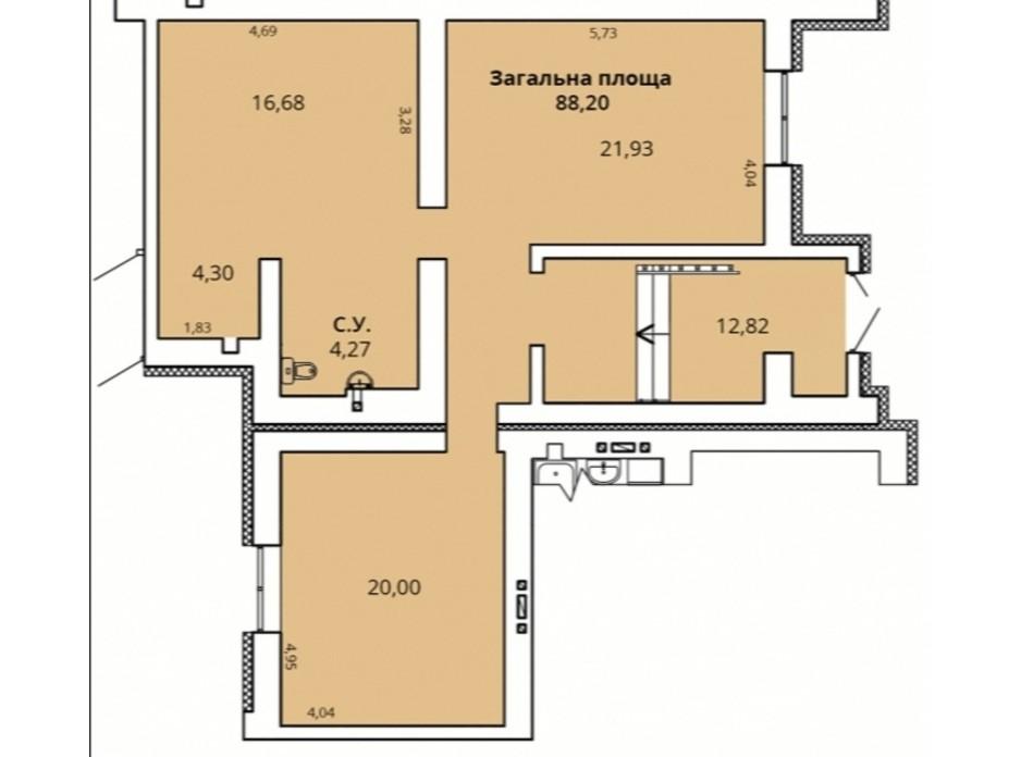 Планування приміщення в ЖК Прем'єр Хаус 4 черга 88.2 м², фото 231345