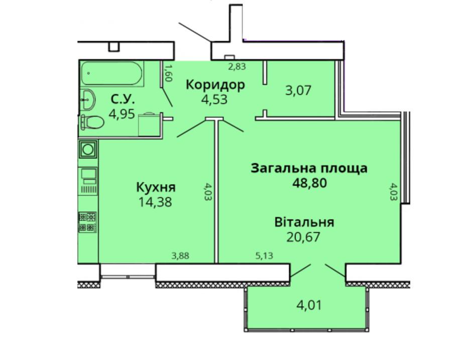 Планування 1-кімнатної квартири в ЖК Прем'єр Хаус 4 черга 51.4 м², фото 231449