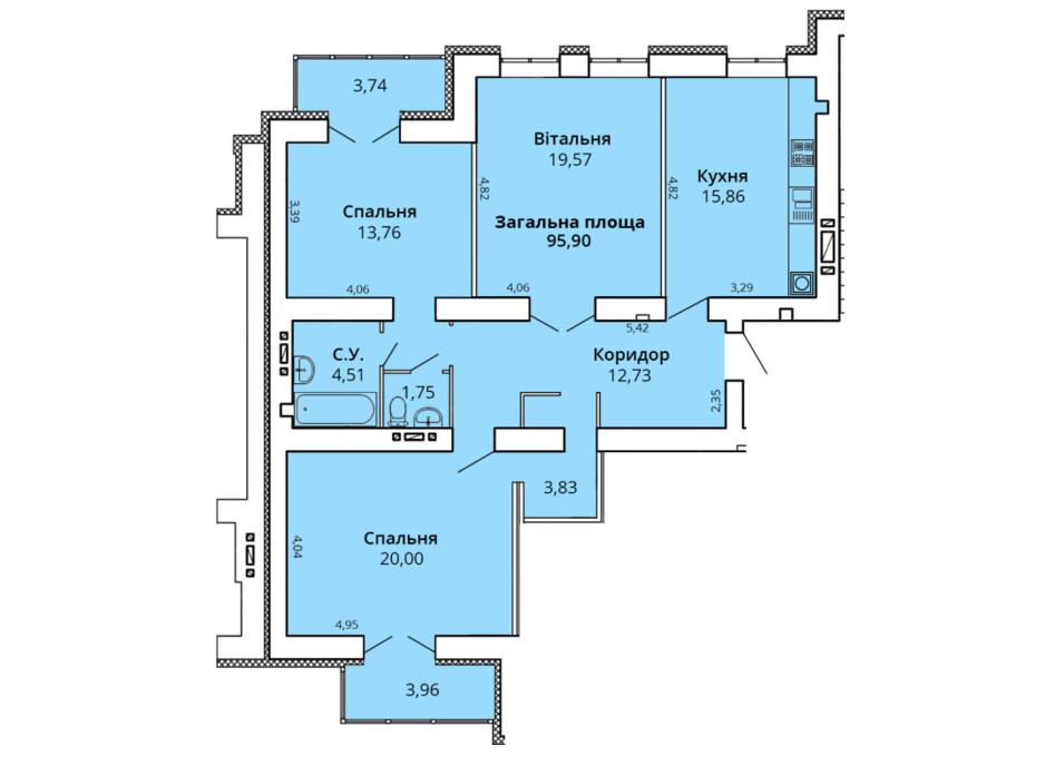 Планування 3-кімнатної квартири в ЖК Прем'єр Хаус 4 черга 102.01 м², фото 231454