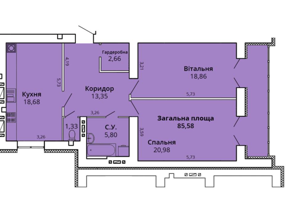 Планування 2-кімнатної квартири в ЖК Прем'єр Хаус 4 черга 90.66 м², фото 231456