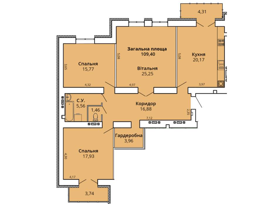 Планування 3-кімнатної квартири в ЖК Прем'єр Хаус 4 черга 113.34 м², фото 231459