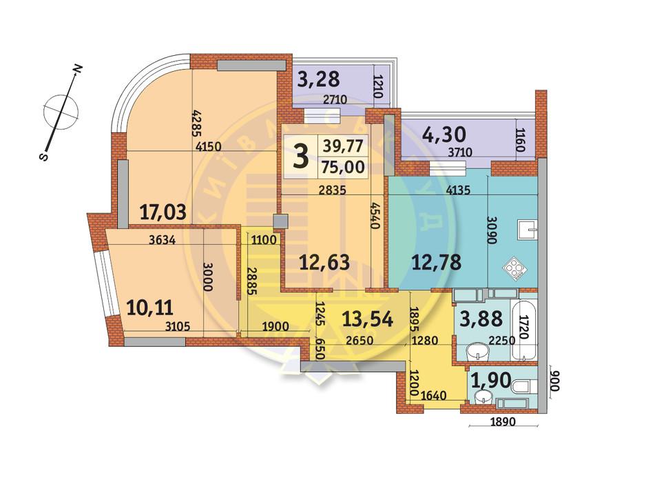 Планировка 3-комнатной квартиры в ЖК Урловский-2 75 м², фото 231519