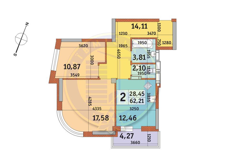 Планировка 2-комнатной квартиры в ЖК Урловский-2 62.21 м², фото 231525
