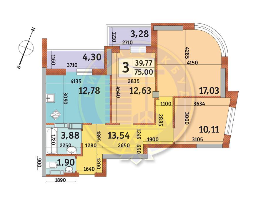 Планировка 3-комнатной квартиры в ЖК Урловский-2 75 м², фото 231531