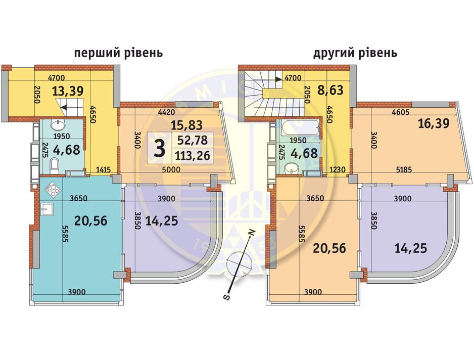 Планировка 3-комнатной квартиры в ЖК Урловский-2 113.26 м², фото 231538