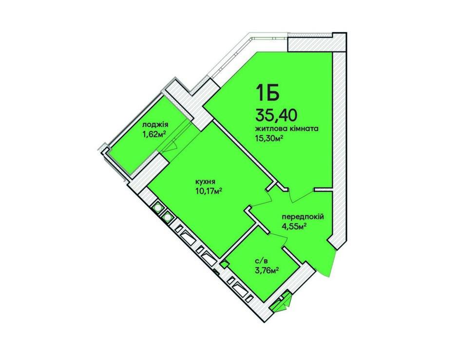 Планировка 1-комнатной квартиры в ЖК Синергия Сити 36.7 м², фото 231681