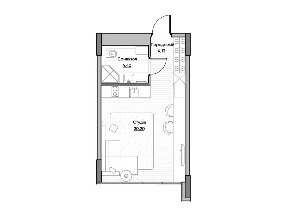 Планировка квартиры студии в ЖК Lucky Land 28.73 м², фото 232158