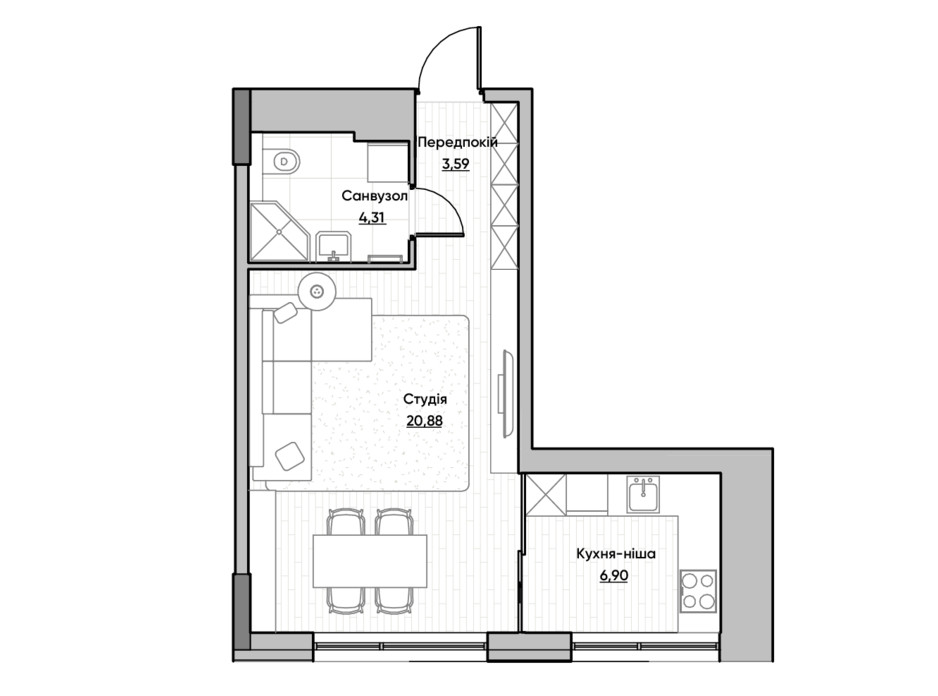 Планировка квартиры студии в ЖК Lucky Land 35.68 м², фото 232159