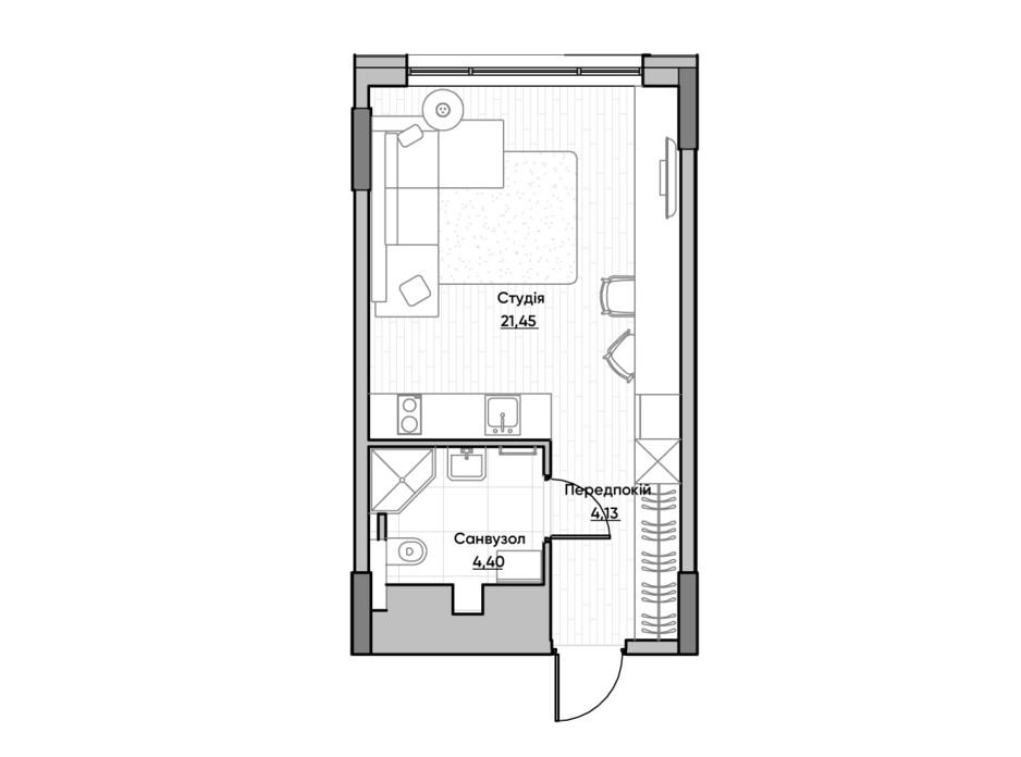 Планировка квартиры студии в ЖК Lucky Land 29.82 м², фото 232160