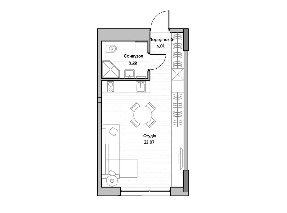 Планировка квартиры студии в ЖК Lucky Land 30.14 м², фото 232161