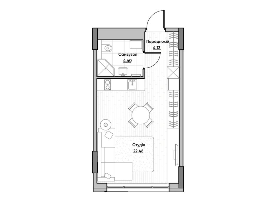 Планировка квартиры студии в ЖК Lucky Land 30.02 м², фото 232163