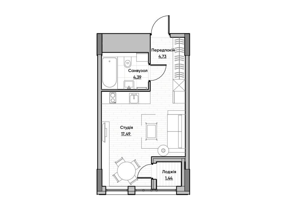 Планировка квартиры студии в ЖК Lucky Land 27.99 м², фото 232164