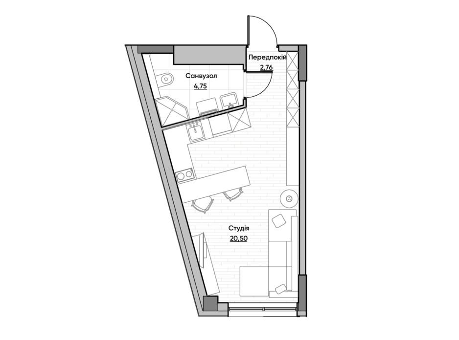 Планировка квартиры студии в ЖК Lucky Land 28.01 м², фото 232165