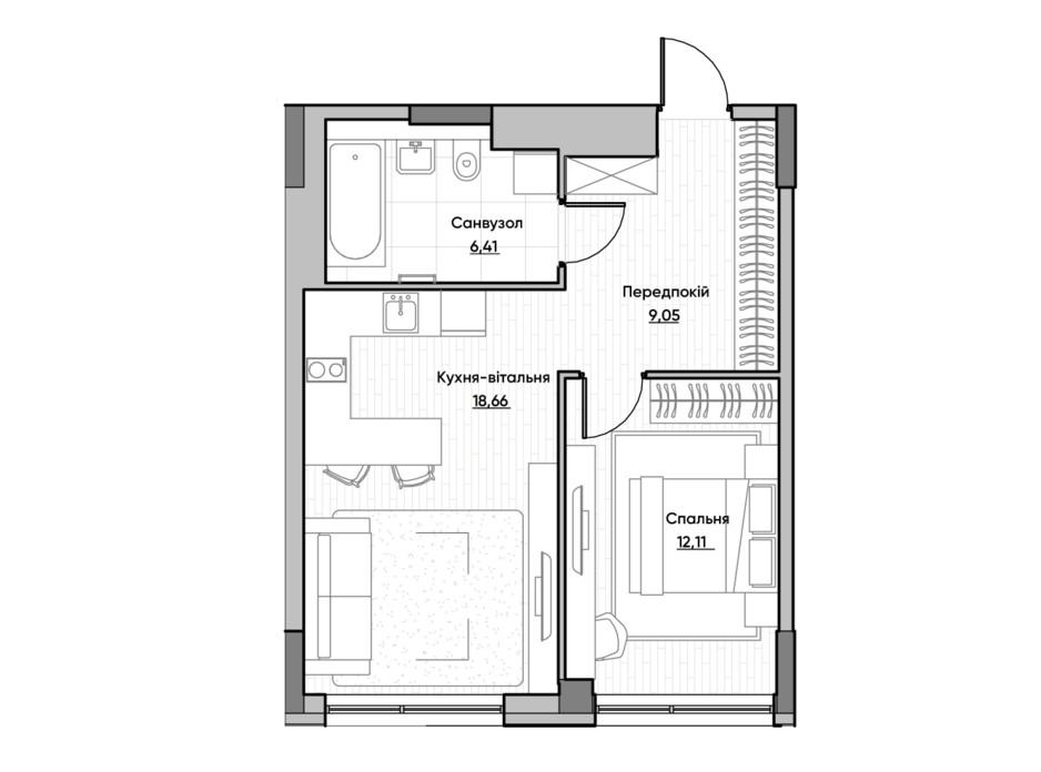 Планировка 1-комнатной квартиры в ЖК Lucky Land 46.23 м², фото 232166