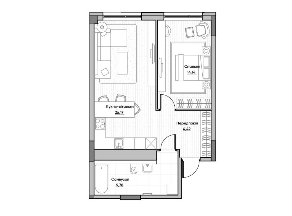 Планировка 1-комнатной квартиры в ЖК Lucky Land 54.51 м², фото 232167