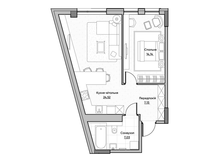 Планування 1-кімнатної квартири в ЖК Lucky Land 52.82 м², фото 232168