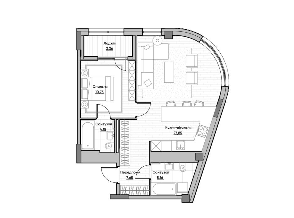 Планировка 1-комнатной квартиры в ЖК Lucky Land 58.9 м², фото 232169