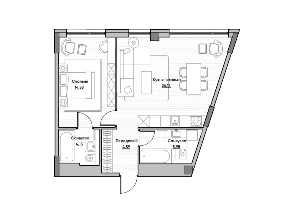 Планировка 1-комнатной квартиры в ЖК Lucky Land 55.42 м², фото 232171