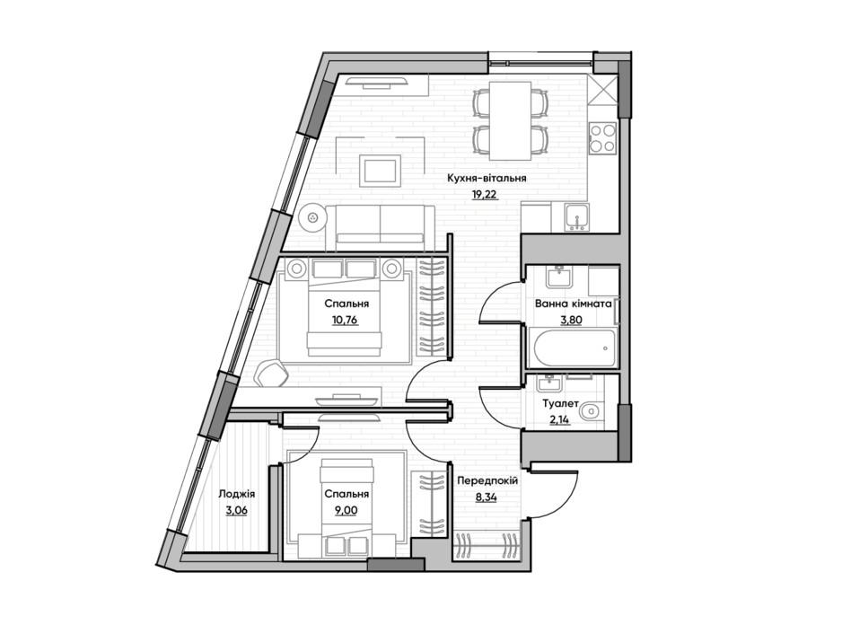 Планування 2-кімнатної квартири в ЖК Lucky Land 56.32 м², фото 232172
