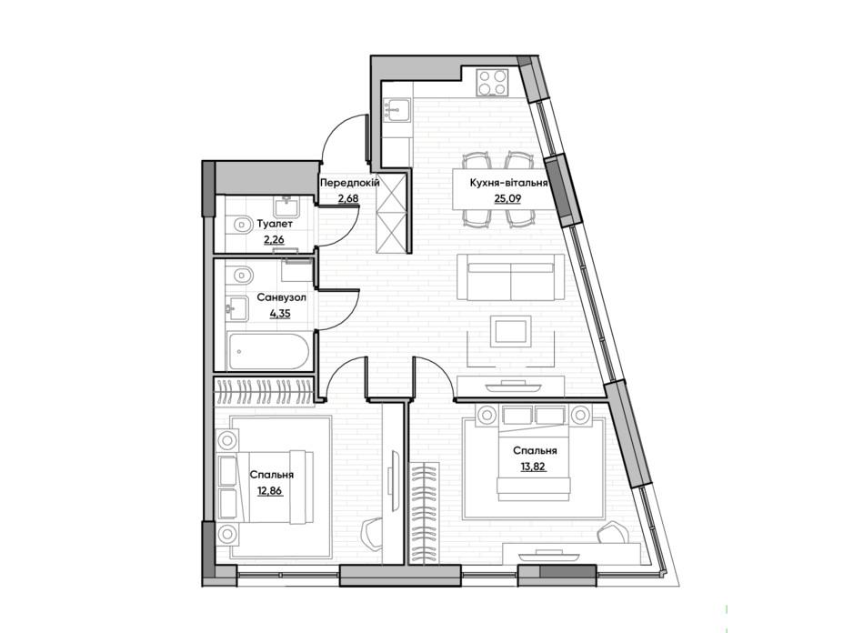 Планування 2-кімнатної квартири в ЖК Lucky Land 61.06 м², фото 232173