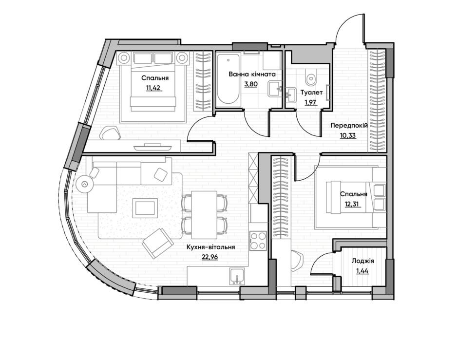 Планировка 2-комнатной квартиры в ЖК Lucky Land 64.23 м², фото 232175
