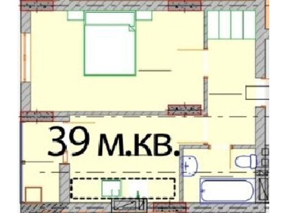 Планировка 1-комнатной квартиры в ЖК Европейский Квартал 39 м², фото 232301