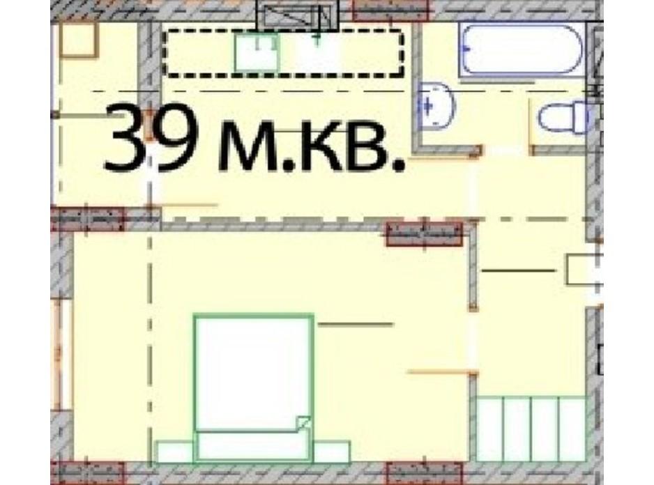 Планировка 1-комнатной квартиры в ЖК Европейский Квартал 39 м², фото 232304