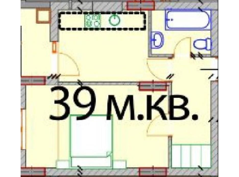 Планировка 1-комнатной квартиры в ЖК Европейский Квартал 39 м², фото 232306