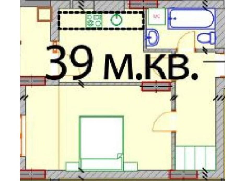 Планування 1-кімнатної квартири в ЖК Європейський Квартал 39 м², фото 232310