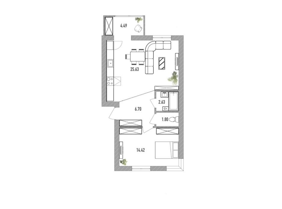 Планировка 2-комнатной квартиры в ЖК Вилла Севилья 55 м², фото 232332