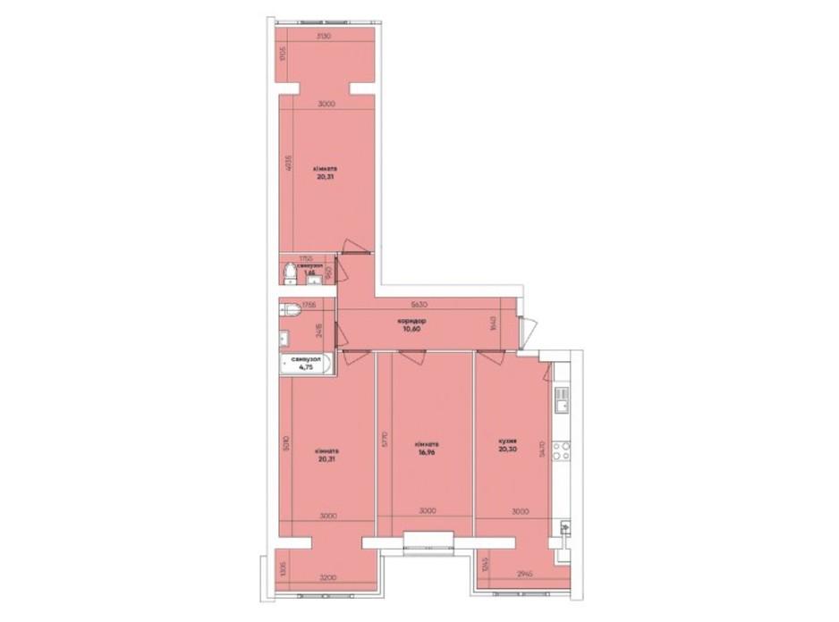 Планування 3-кімнатної квартири в ЖК Ковалівський 95.07 м², фото 232440