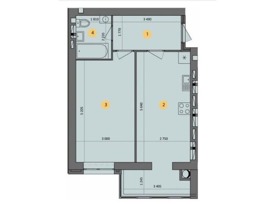 Планування 1-кімнатної квартири в ЖК Ковалівський 44.65 м², фото 232442