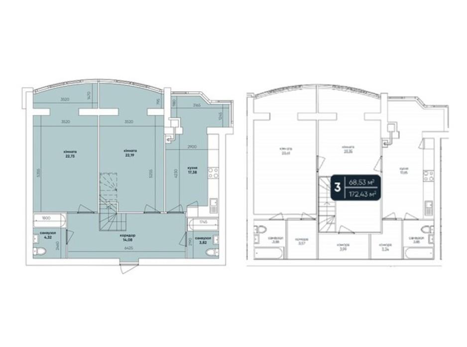 Планування багаторівневої квартири в ЖК Ковалівський 172 м², фото 232443