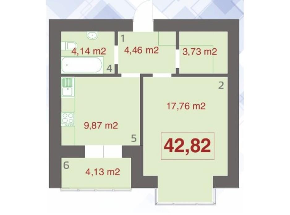 Планування 1-кімнатної квартири в ЖК Левада Дем'янів Лаз 42.82 м², фото 233052