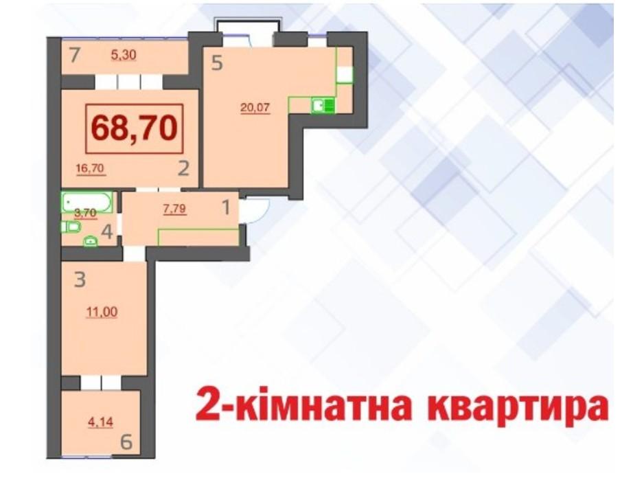 Планування 2-кімнатної квартири в ЖК Левада Дем'янів Лаз 68.7 м², фото 233053