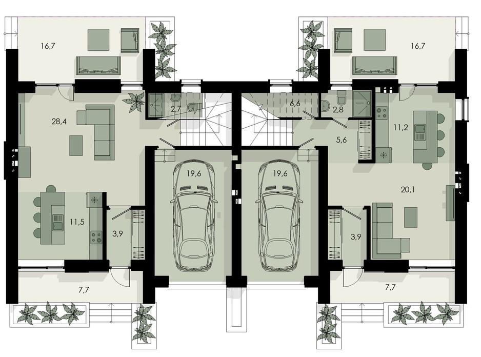 Планировка коттеджа в КГ Garden Home 148 м², фото 233074