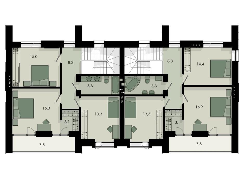 Планировка коттеджа в КГ Garden Home 148 м², фото 233075