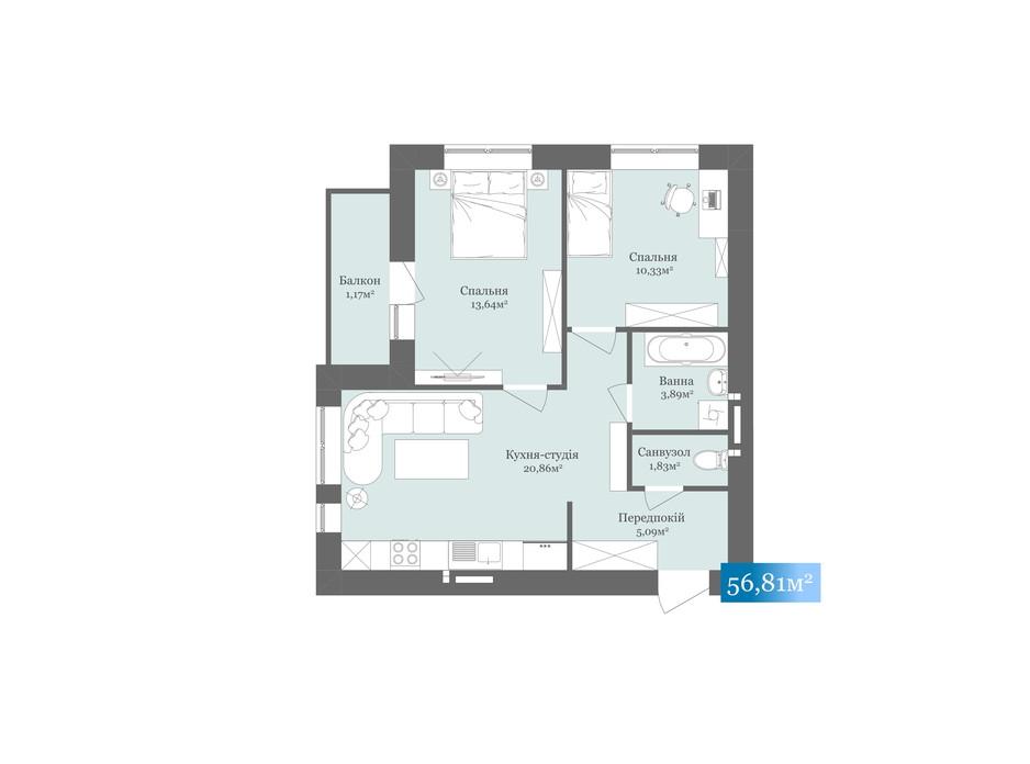 Планировка 2-комнатной квартиры в ЖК West Towers 56.81 м², фото 233126