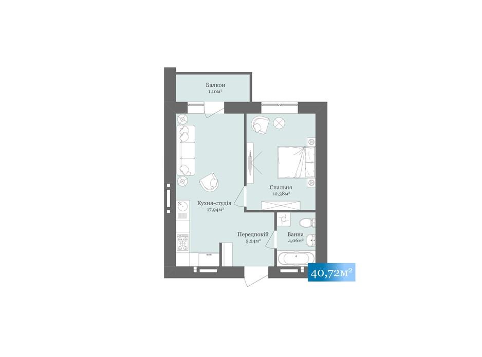 Планировка 1-комнатной квартиры в ЖК West Towers 40.72 м², фото 233175