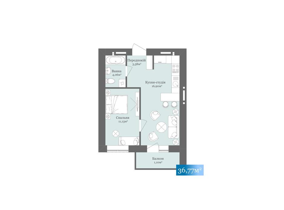 Планировка 1-комнатной квартиры в ЖК West Towers 36.77 м², фото 233178