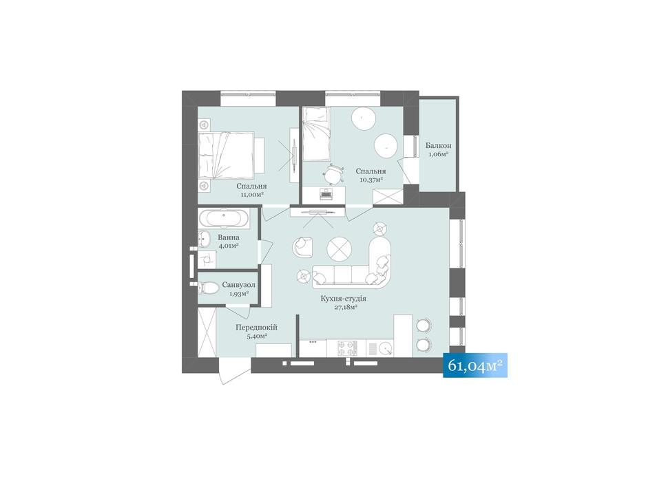 Планировка 2-комнатной квартиры в ЖК West Towers 61.04 м², фото 233179