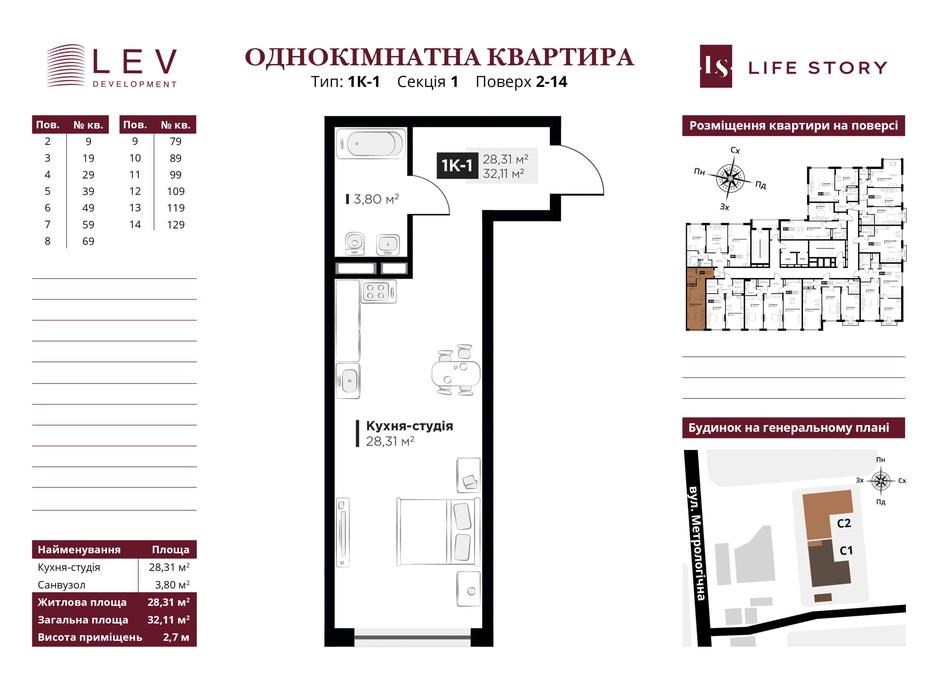 Планування 1-кімнатної квартири в ЖК Life Story 32.11 м², фото 233210